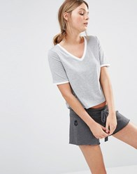 New Look Tipped V Neck T Shirt Grey Marl