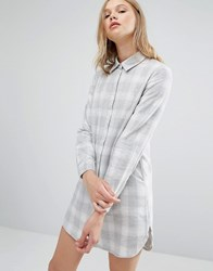 Native Youth Boxy Shirt Dress Light Check Grey