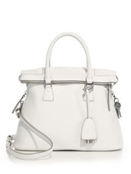Maison Martin Margiela Small Top Handle Leather Tote White