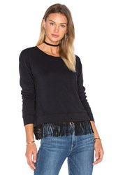 Splendid French Terry Fringe Pullover Black