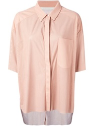 Drome Perforated Leather Shirt Pink And Purple