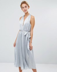 True Decadence Pleated Culotte Jumpsuit Light Grey