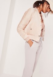 Missguided Ruched Sleeve Bomber Jacket Nude Beige
