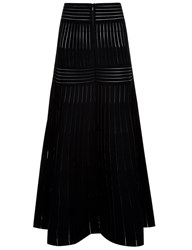 Barbara Casasola Black Stretch Knit Fluted Skirt