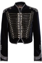 Roberto Cavalli Embellished Cropped Velvet Jacket Midnight Blue