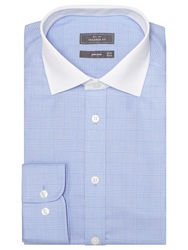 John Lewis Graphic Check Contrast Collar Shirt Blue