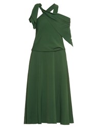Rosie Assoulin Sling One Shoulder Crepe Midi Dress Green