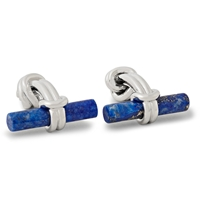 Alfred Dunhill Rhodium Plated Sterling Silver Knot And Lapis Cufflinks