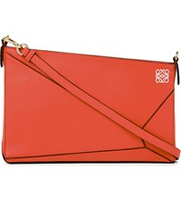 Loewe Puzzle Leather Pouch Coral