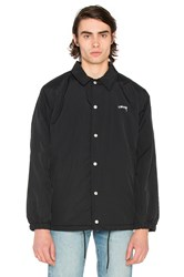 Stussy Smooth Stock Faux Fur Coach Jacket Black