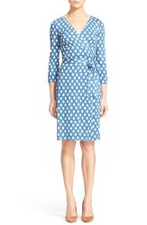 Women's Diane Von Furstenberg 'New Julian Two' Polka Dot Silk Wrap Dress Dotted Batik Blue