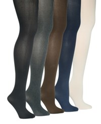 Hue Control Top Ribbed Sweater Tights Graphite Heather