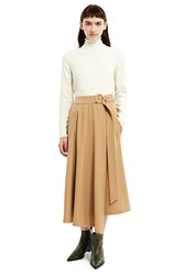 Veronique Branquinho Belted Mid Calf Skirt Beige