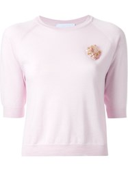 Simone Rocha Embellished Knitted Top Pink And Purple