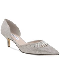 Nina Tamay D'orsay Pointed Toe Evening Pumps Women's Shoes Silver