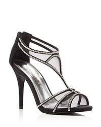 Caparros Bluebell Satin Rhinestone T Strap High Heel Sandals Black Clear