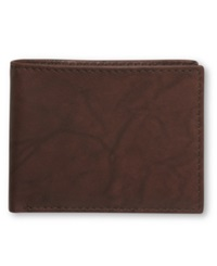 Tasso Elba Cow Antique Bifold Passcase Wallet Brown