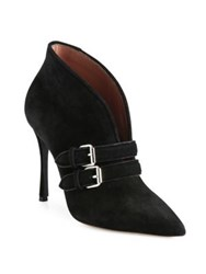 Tabitha Simmons Melissa Buckle Suede Point Toe Booties Black