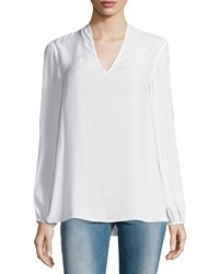 Max Studio Slit Sleeve V Neck Blouse Off White