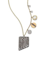 Meira T Diamond White Topaz 14K White Blackened And Yellow Gold Rectangle Charm Necklace