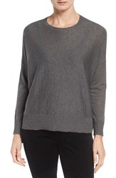 Eileen Fisher Women's Ballet Neck Boxy High Low Pullover Ash