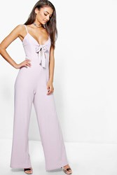 Boohoo Shadia Bow Front Wide Leg Jumpsuit Lilac