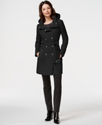 Calvin Klein Water Resistant Hooded Trench Coat Black