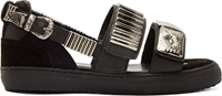 Toga Pulla Black And Silver Heavy Hardware Sandals