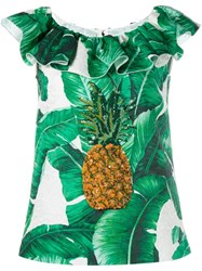Dolce And Gabbana Pineapple Beaded Top Green