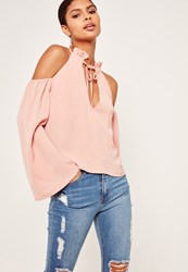 Missguided Frill Detail Tie Front Cold Shoulder Top Pink Rose