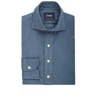 Drakes Corduroy Dress Shirt Blue