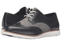 Cole Haan Original Grand Wingtip Black Natural Tweed Black Leather Optic White Women's Lace Up Wing Tip Shoes