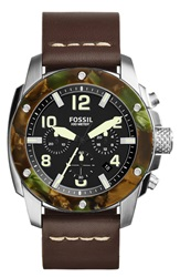 Fossil 'Modern Machine' Chronograph Leather Strap Watch 50Mm Brown Silver Camo