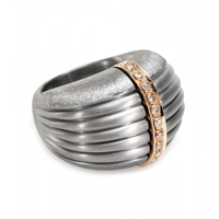 Roberto Marroni Oxidized Sterling Silver Ring With Brown Diamonds Set On 18Kt Rose Gold