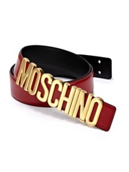 Moschino Logo Buckle Leather Belt Red