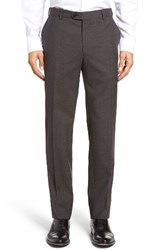 Pal Zileri Men's Flat Front Check Wool Trousers Mocha