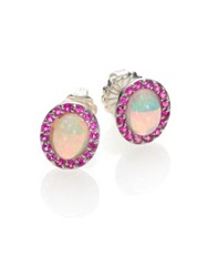 Marlo Laz Gypsy Opal Pink Sapphire And Sterling Silver Iris Stud Earrings Silver Pink