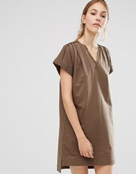 People Tree Organic Cotton Roll Sleeve Tunic Dress Khaki Green