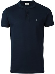 Saint Laurent Band Collar Polo Shirt Blue