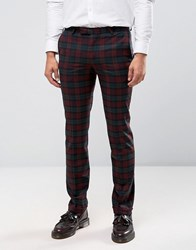 Noose And Monkey Super Skinny Trousers In Tartan With Stretch Burgundy Red