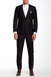Nicole Miller Checkered Two Button Notch Lapel Suit Black