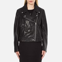 Mcq By Alexander Mcqueen Women's Casual Leather Biker Jacket Black