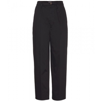 Miu Miu Cropped Wide Leg Stretch Cotton Trousers Bleu