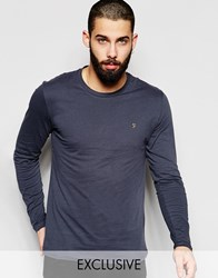 Farah T Shirt With F Logo Slim Fit Exclusive Long Sleeves Grey
