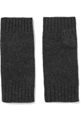 N.Peal Cashmere Cashmere Fingerless Gloves Charcoal