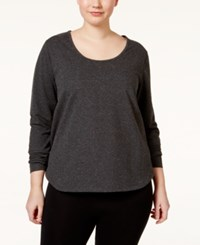 Jessica Simpson The Workout Plus Size Long Sleeve Top Vivid Nght