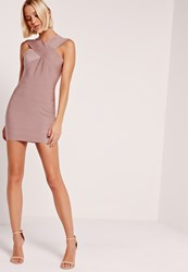 Missguided Petite Exclusive Cross Front Sleeveless Bandage Dress Pink Mauve