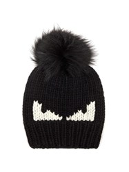 Fendi Bag Bugs Fur Pompom Wool Hat Black