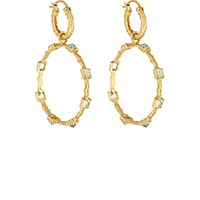 Cathy Waterman Women's Aquamarine Double Drop Hoop Earrings No Color