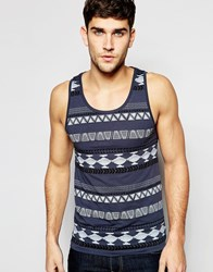 Asos Extreme Muscle Vest In Aztec Print In Grey